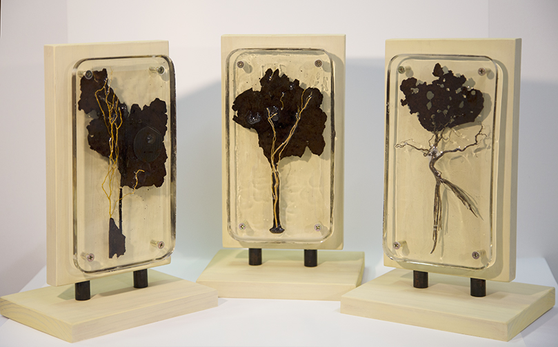 Moonlight, Lyrical, and Pirouette- resin, metal, wood, organic material 29 x 18 x 14 cm - Lyne Marshall