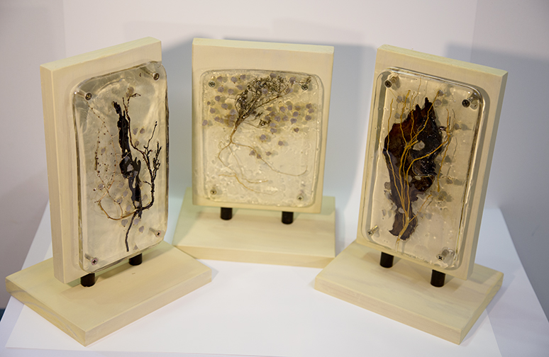 Seasons, Reflections and Fragments - resin, metal, wood, organic material, 18 x 30 x 14 cm Lyne Marshall